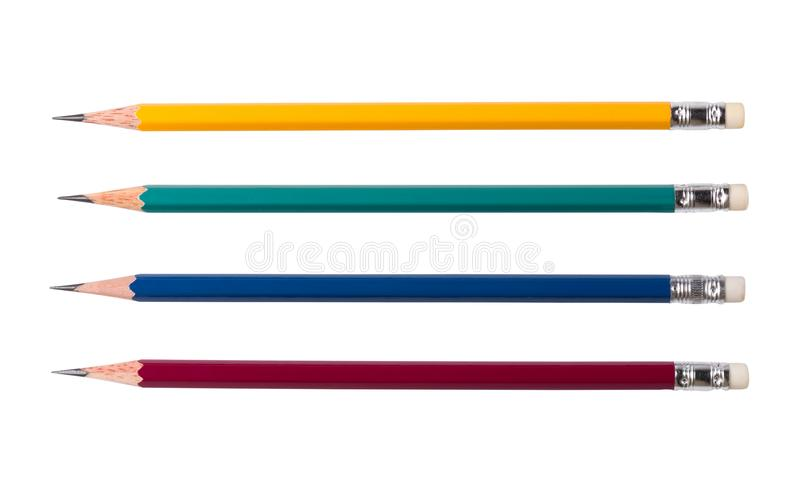 Four color pencils isolated on white background royalty free stock photography