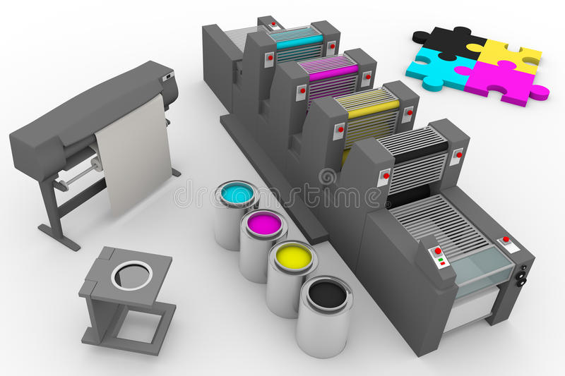 Four color print production process vector illustration