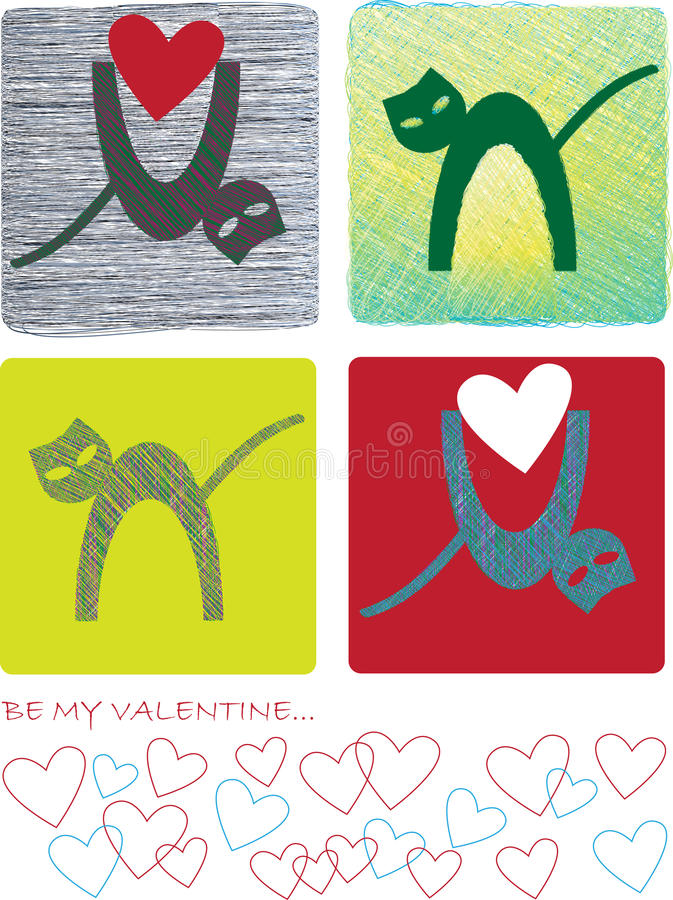 Four color valentine cards with cats and hearts