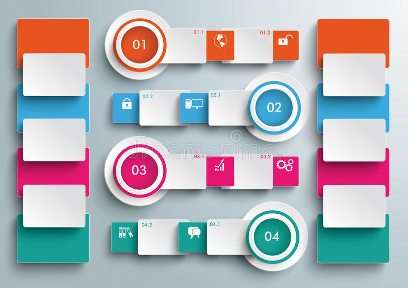 Four Colored Banners Batched Rectangles Big Infogr. Connected rectangles on the grey background. Eps 10 file stock illustration