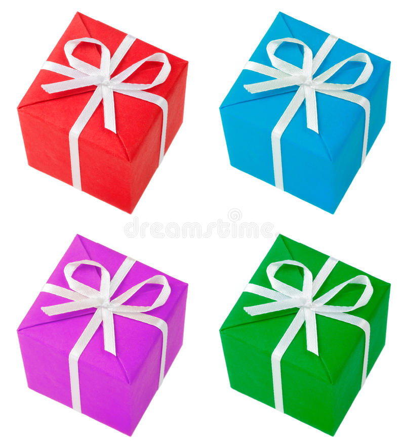 Four colored gift boxes. Isolated on white stock image