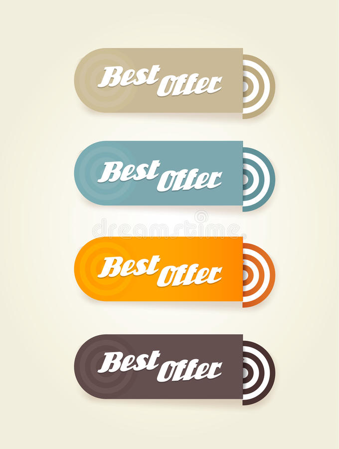 Download Four Colored Paper Stipes With Best Offer Text. Stock Vector - Illustration: 31395789