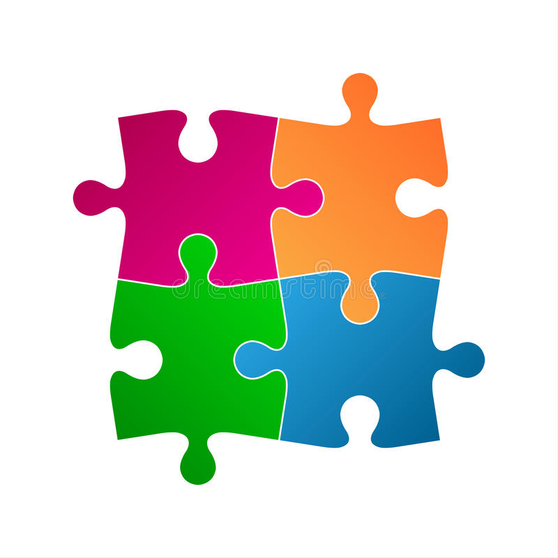 Four colored puzzle pieces, abstract symbol icon stock illustration