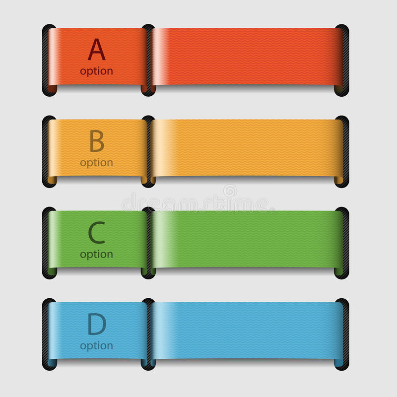 Four colored ribbons with data stock illustration