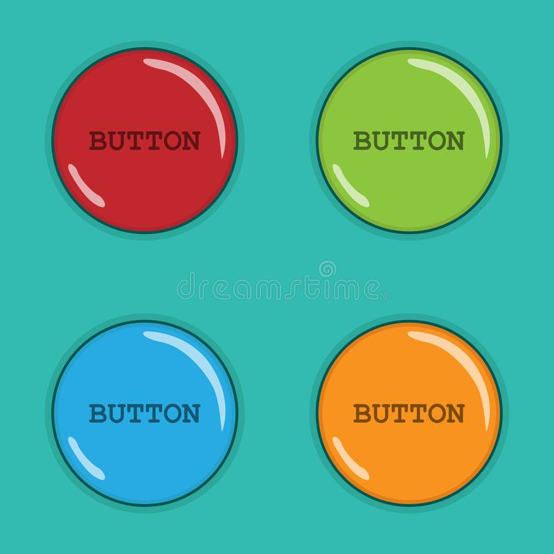 Four colored round buttons . Vector image. vector illustration