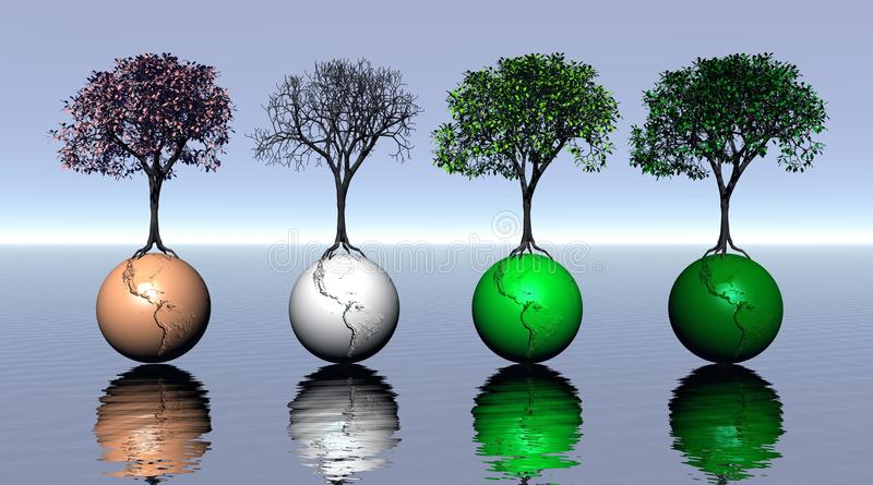 Four colored trees and earth for four seasons stock illustration