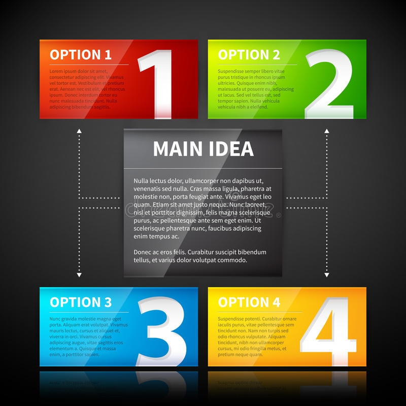 Four colorful banner, numbered from one to four, related to the main idea. EPS10 vector template stock illustration