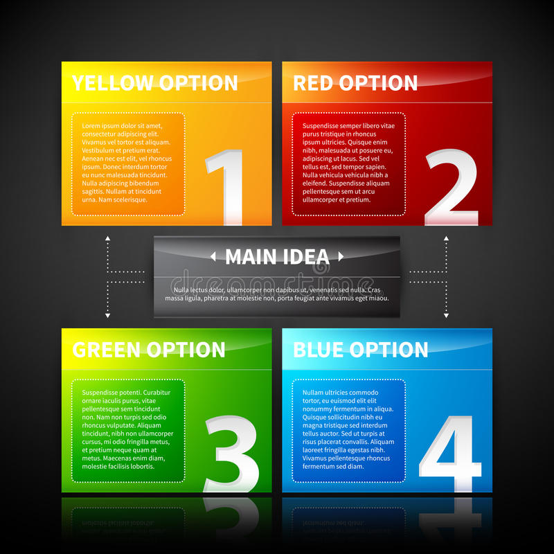 Four colorful banner, numbered from one to four, related to the main idea. EPS10 vector template royalty free illustration