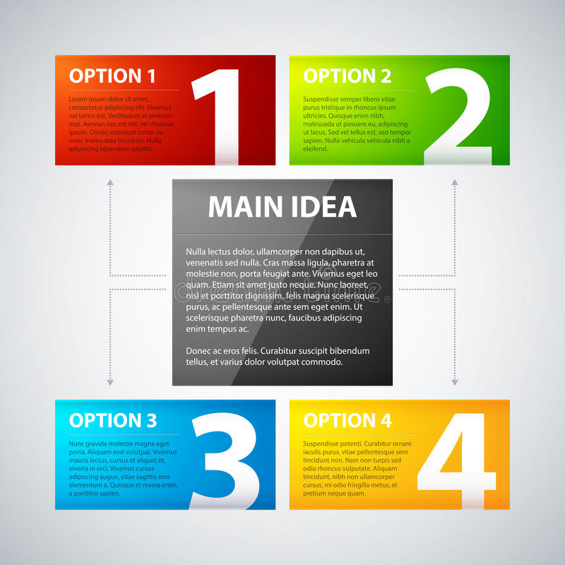 Four colorful banners, numbered from one to four, related to the main idea.  stock illustration