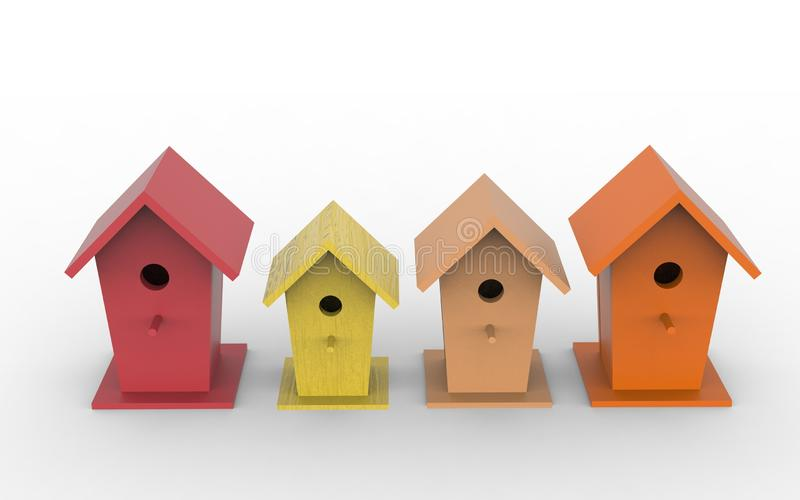 Four colorful birdhouses on a white background royalty free illustration