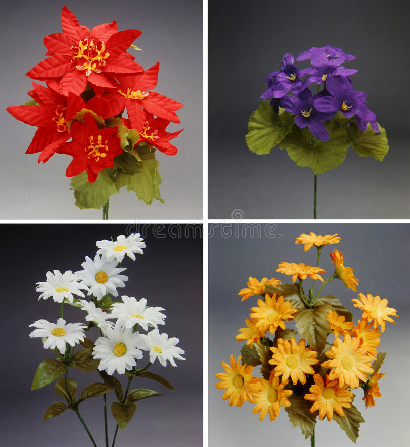 Download Four Colorful Bouquet Of Fabric Flowers Stock Photo - Image: 881600
