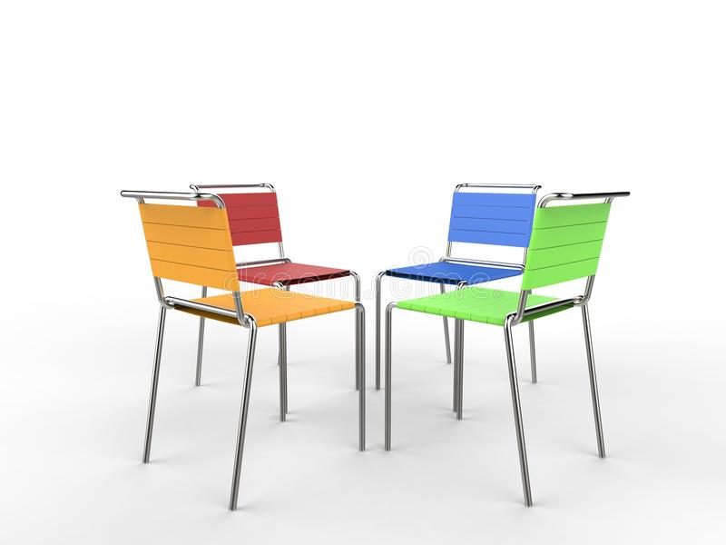 Four colorful chairs facing each other. On white background royalty free stock photos