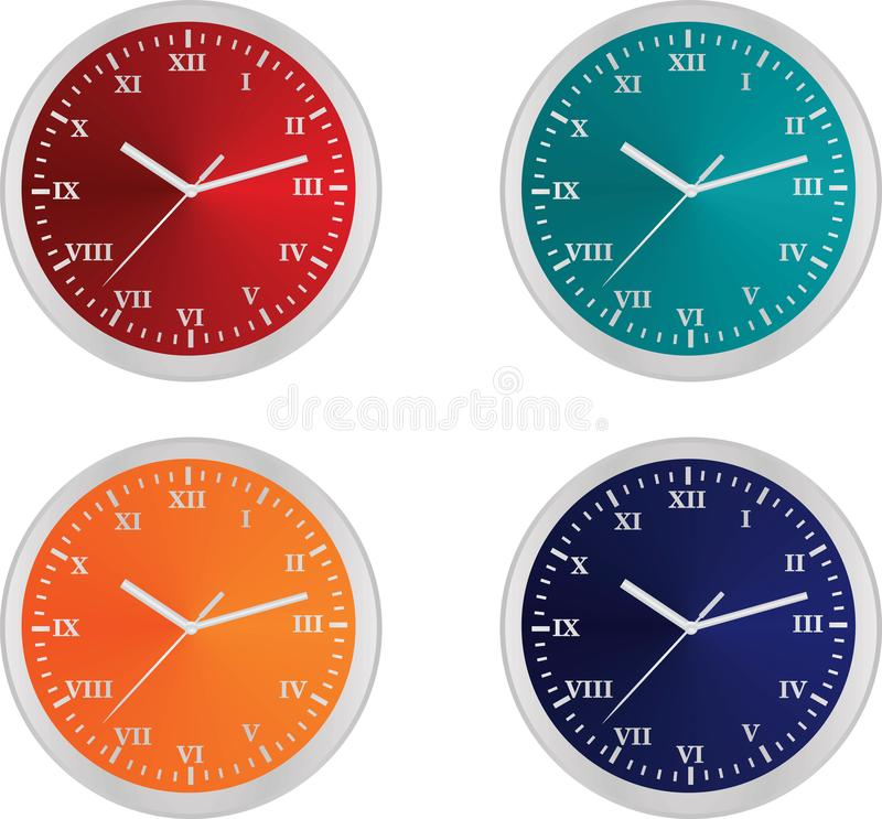 Four colorful clocks royalty free illustration