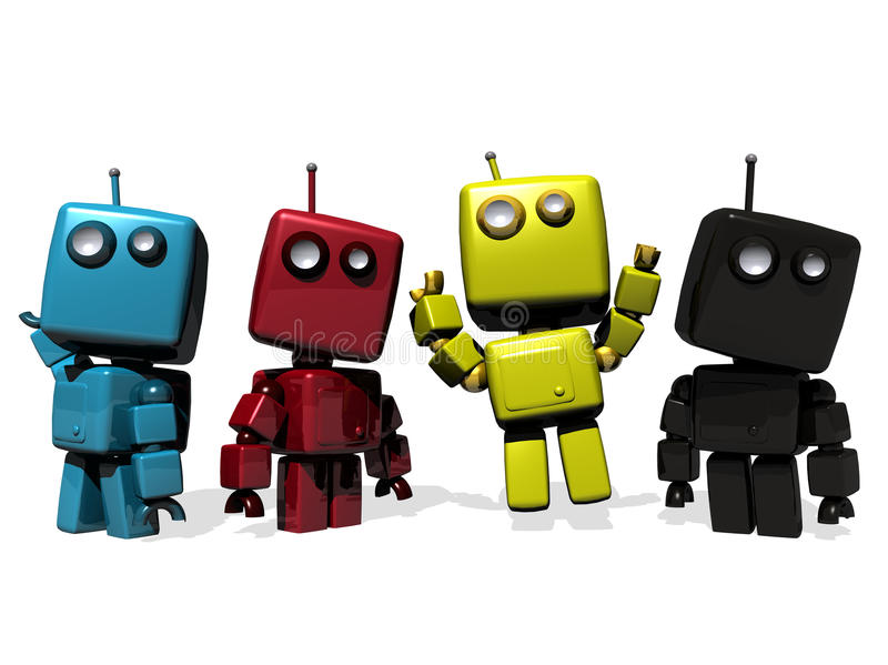 Four colorful CMYK robots stock images