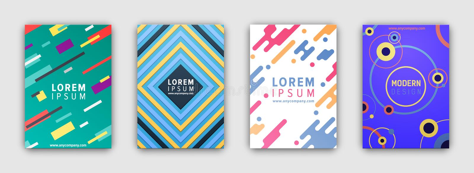 Four Colorful Covers Collection in Flat Design royalty free illustration