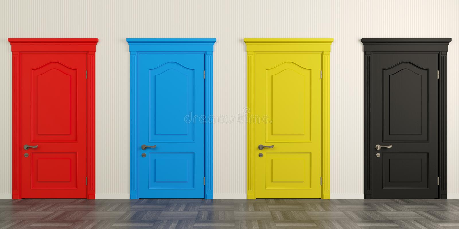Four colorful doors on the wall royalty free stock photo