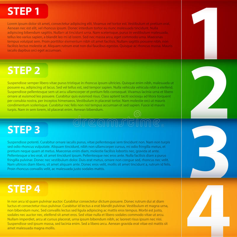 Four colorful horizontal banners, numbered from one to four.  vector illustration