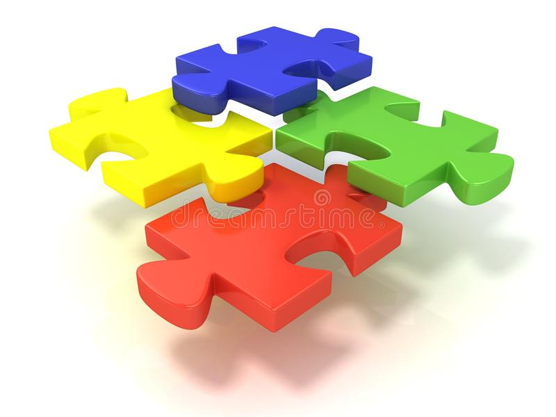 Four colorful jigsaw puzzle pieces set apart. Isolated on a white background royalty free stock photography