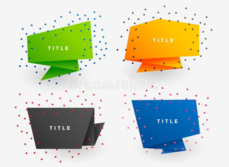 Four colorful paper origami banners vector illustration