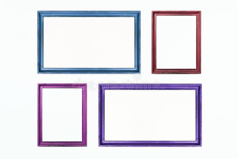 Four colorful rectangular frames for painting or picture on white background. Isolated. Add your text. stock photos