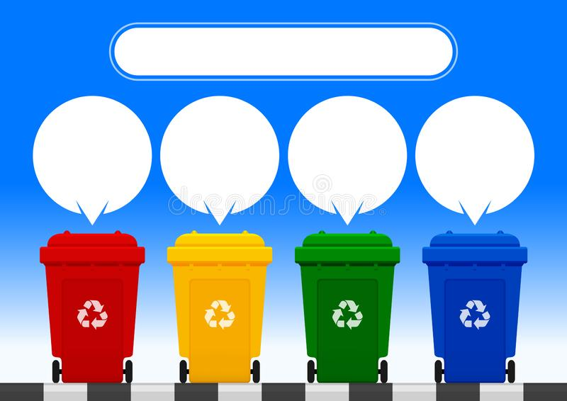 Four colorful recycle bins isolated on blue background, white speech bubbles for copy space and template print, red, yellow, green. The four colorful recycle royalty free illustration