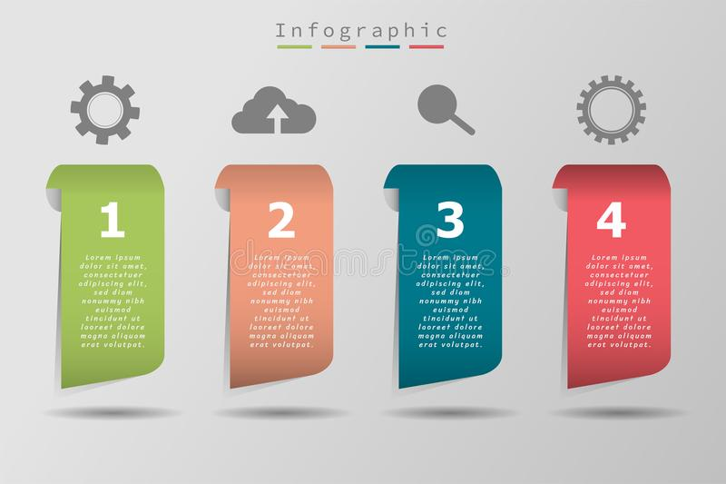 Four colorful sample icon and text, business timeline, illustration eps10 royalty free illustration