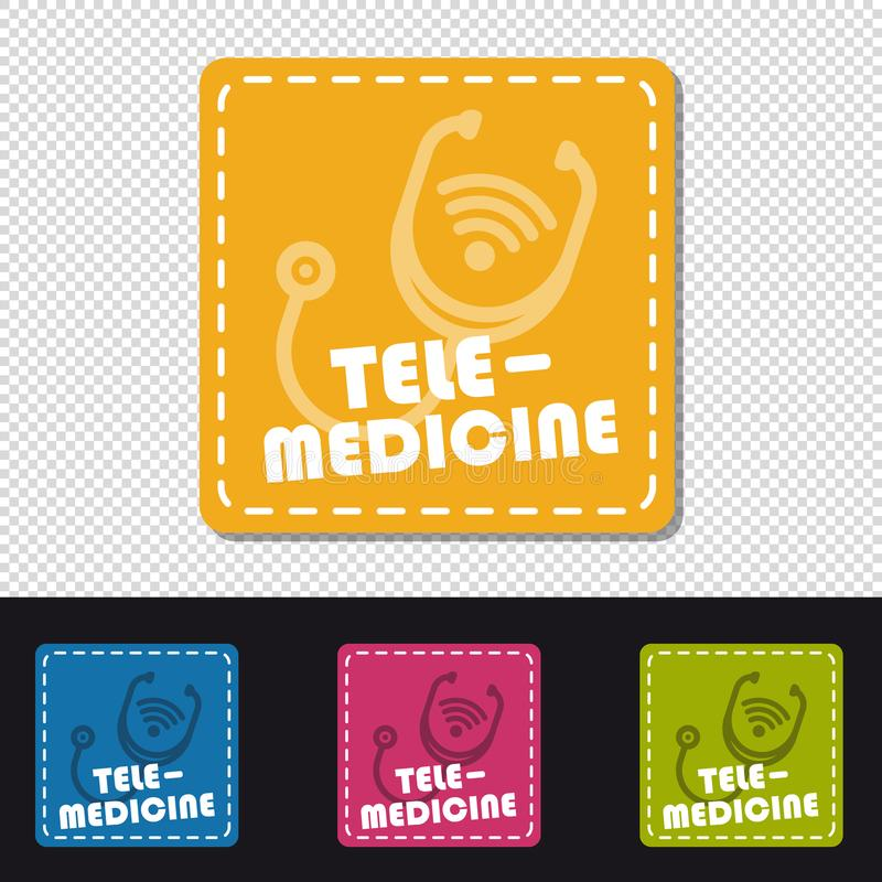 Four Colorful Square Buttons Telemedicine - Colorful Vector Illustration - Isolated On Transparent Background royalty free illustration
