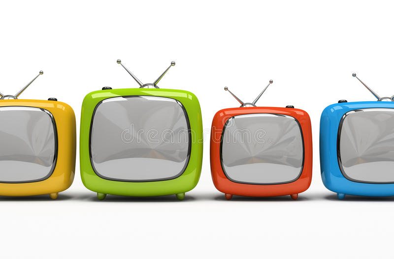 Four colorful television sets vector illustration