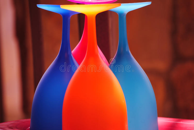 Four Colorful Wine Glasses and Wine Tasting stock image