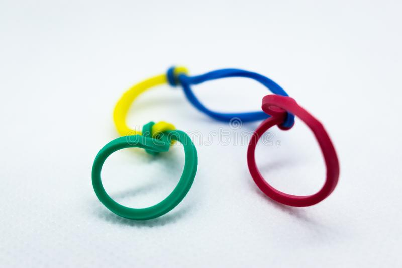 Four Colors But Rubberbands royalty free stock photos