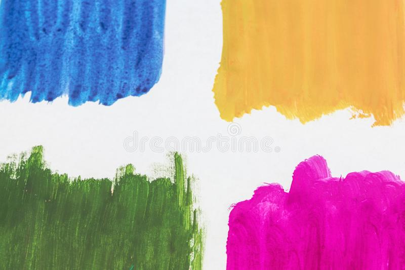 Four colors of watercolor paint on a white background stock illustration