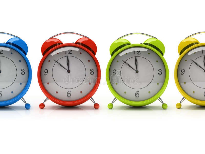 Four colourful alarm clocks isolated on white background 3D royalty free illustration