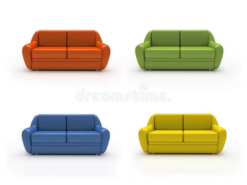 Download Four Colourful Sofas Isolated On White Background Stock Photo - Image: 1566104