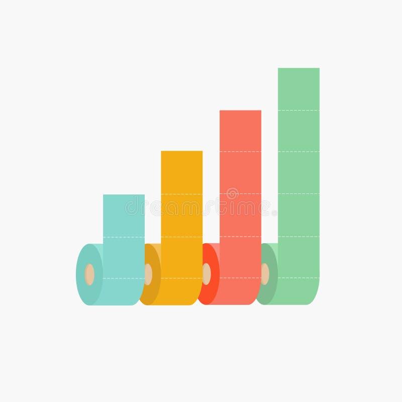 Four column toilet paper roll chart diagram Dash line Flat design Infographic Template. Vector illustration royalty free illustration