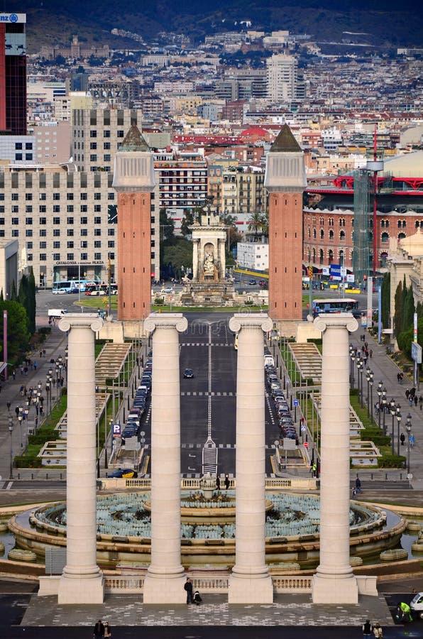 Four columns and Plaza de Espana, Barcelona royalty free stock image