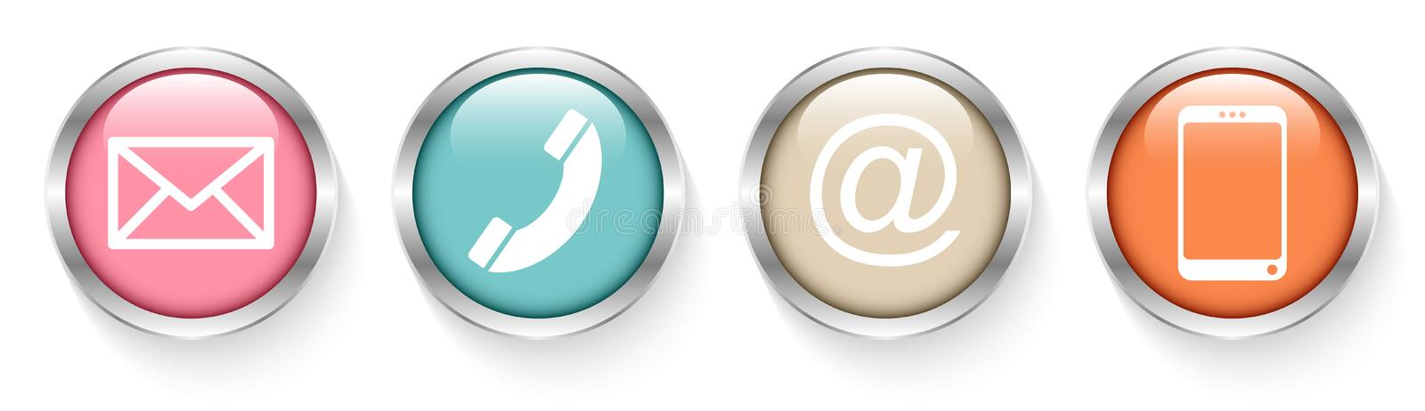Set Of Four Buttons Contact Retro Silver vector illustration
