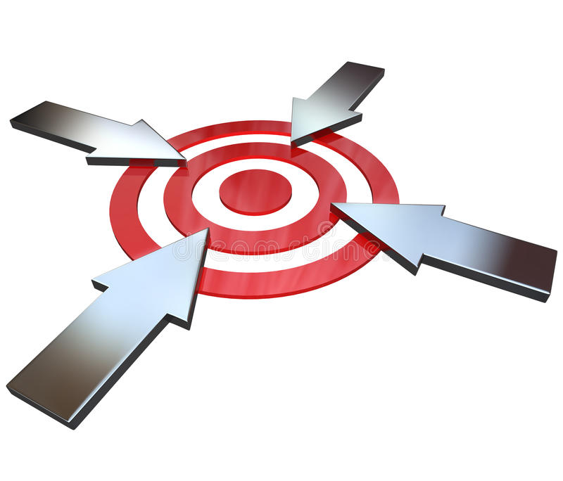 Download Four Competing Arrows Point At Bulls-Eye Target Stock Illustration - Image: 22540139