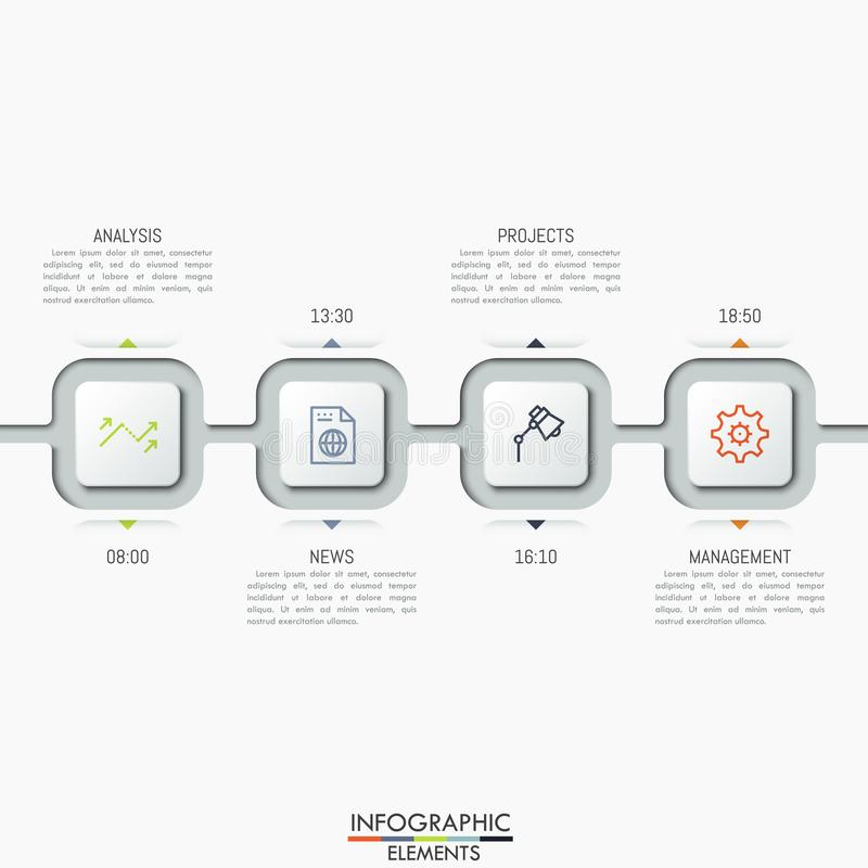 Four connected square elements with icons, text boxes and time indication. vector illustration