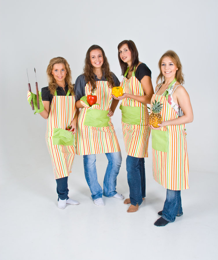 Download Four Cooks stock image. Image of girls, healthy, health - 4931457