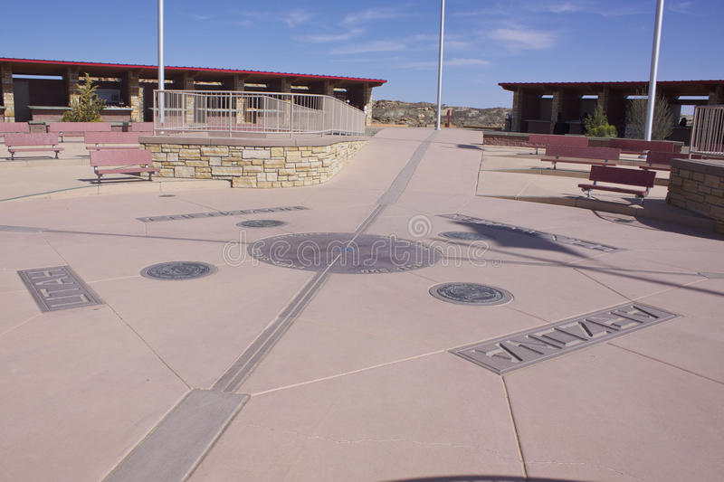 Four Corners Monument. Four corners landmark indicating the four states lines connecting Colorado, New Mexico, Utah and Arizona stock photography