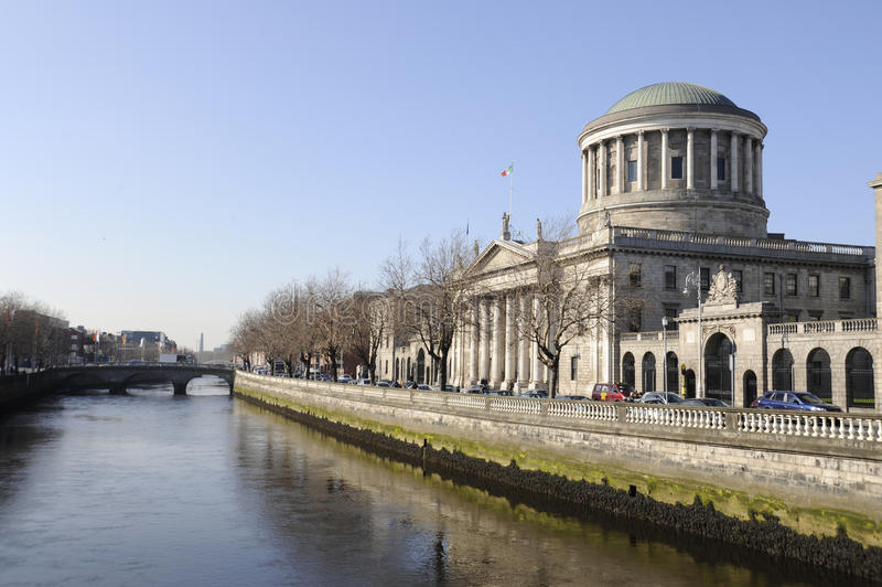 Four Courts. On the River Liffey in Dublin, Ireland. One of Dublin's finest buildings, the , captured on a beautiful spring day royalty free stock photo