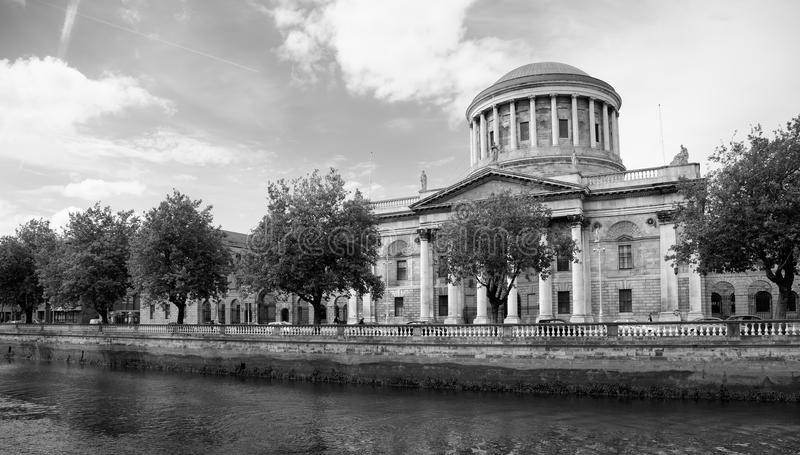 Four Courts in Dublin. River Liffey and Four Courts building in Dublin - Irish capital city landmark, Ireland stock image