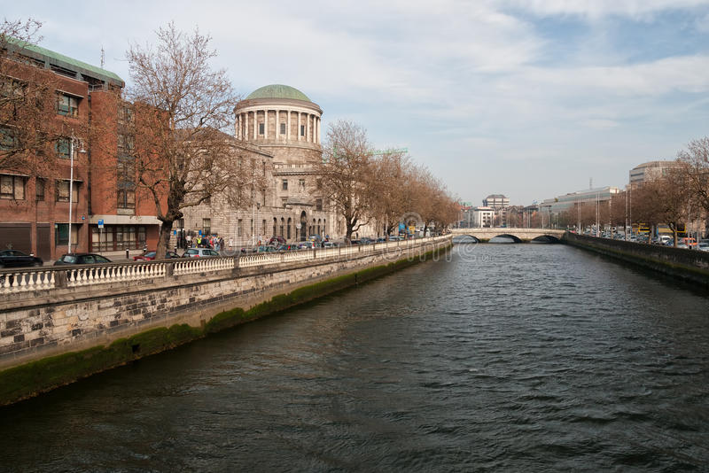 Four Courts and River Liffey in Dublin royalty free stock photo