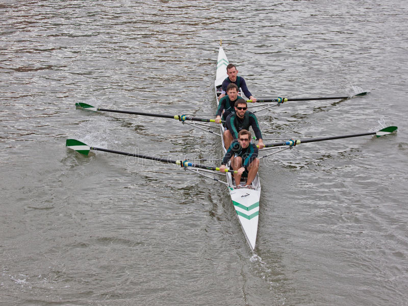 Four Crew. BRISTOL, ENGLAND - FEBRUARY 19: Team of four competing in the annual Head of the River race in Bristol, England on February 19, 2012. One hundred stock photo