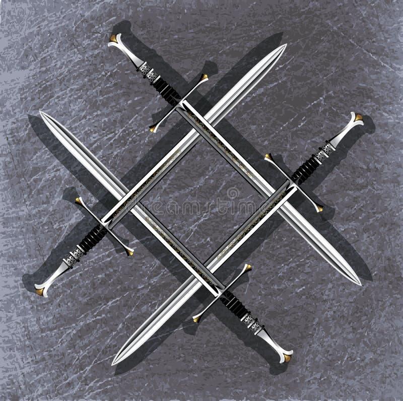 Four long sword royalty free stock photos