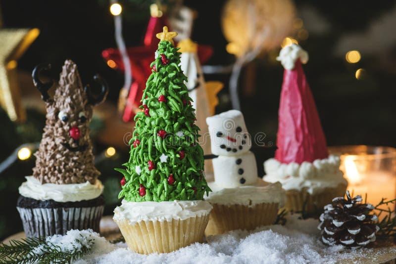 Four Cupcakes On Table stock photo