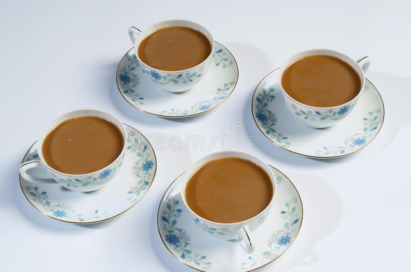 Four cups of coffee. Coffee is a friend to seat is the best drink royalty free stock photos