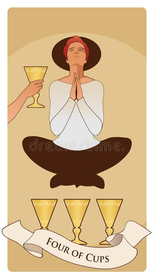 Four of Cups. Tarot cards. Young man in an attitude of meditation and prayer, levitating over three golden cups stock illustration