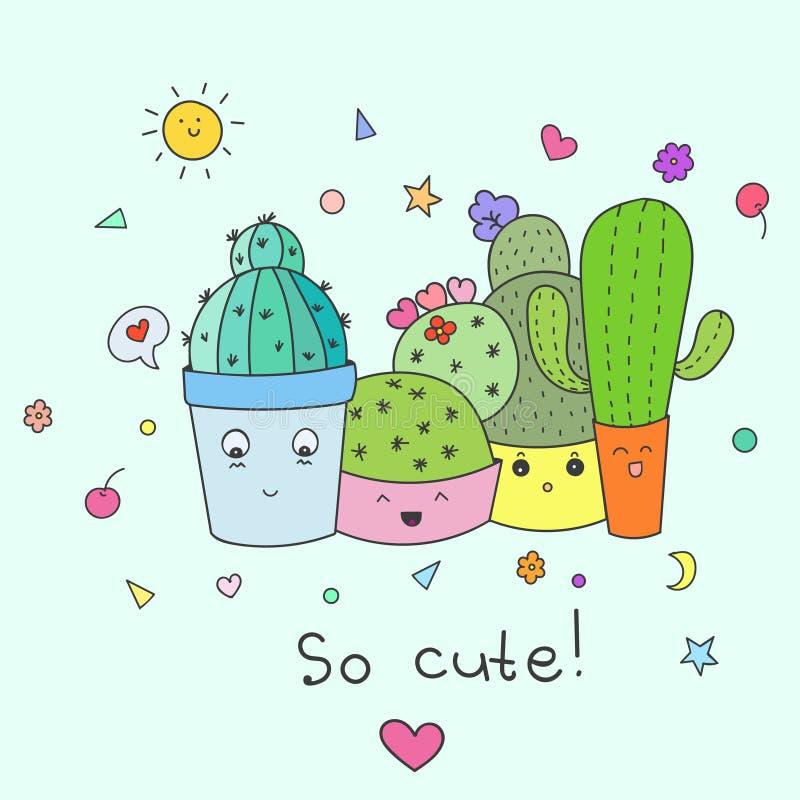 Four cute cactus. Vector illustration royalty free stock photos