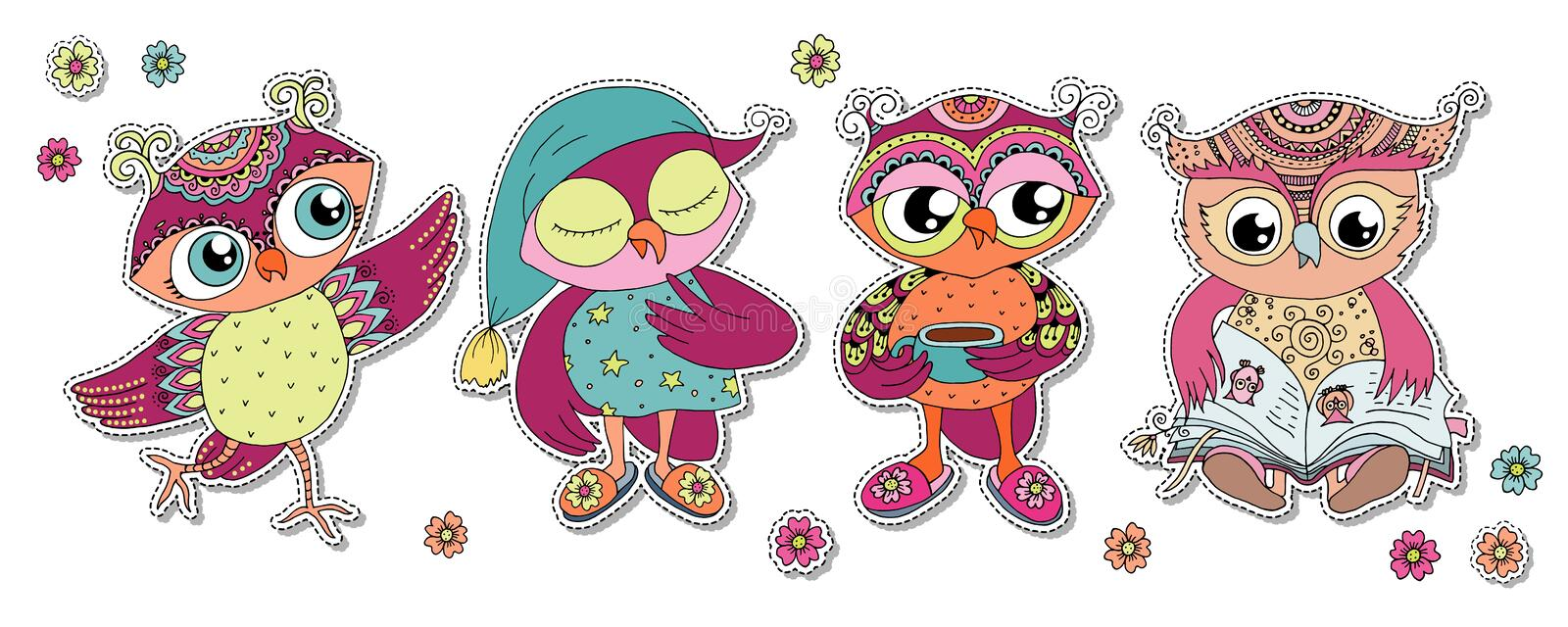 Four cute colorful cartoon owls royalty free stock images